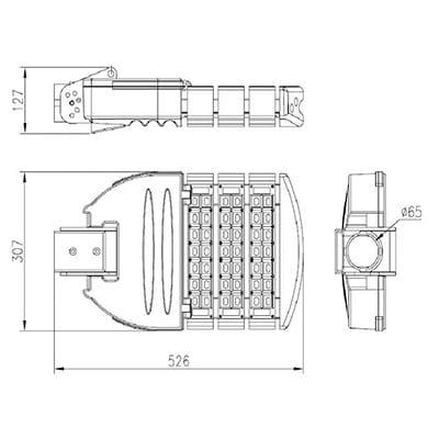 Armature stradali led 90 W 3 moduli dimensioni